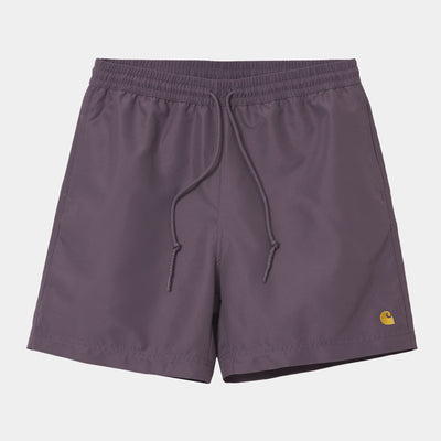 carhartt wip- chase swim trunk provence purple with embroidered carhartt logo - front view
