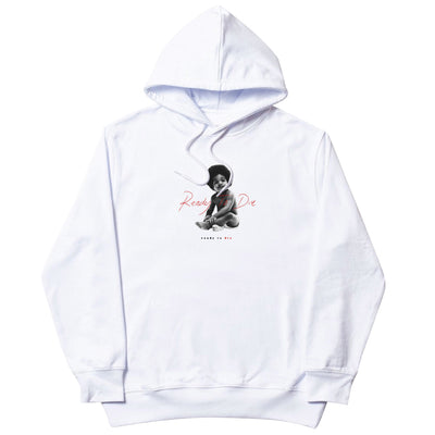 tealer - ready to die hoodie white big poppa - front print view