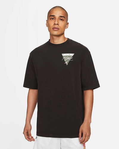 jordan floght essential tee black with printed graphic on chest and back - front view
