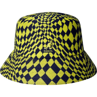 kangol -warped check bucket lemon - front view