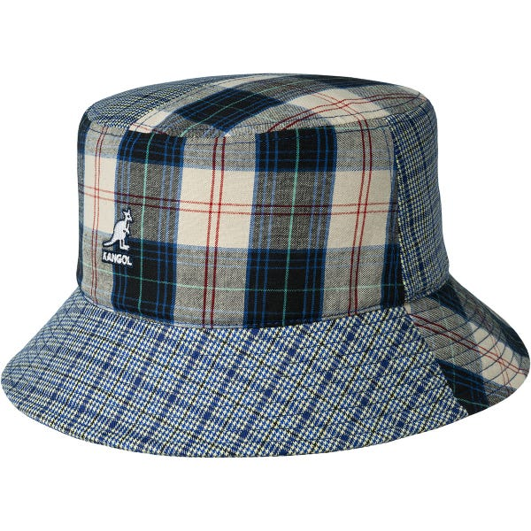 kangol - plaid mashup bucket -front view