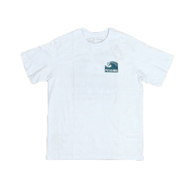 patagonia - ditch the drill tee white - front view wave graphic on the chest