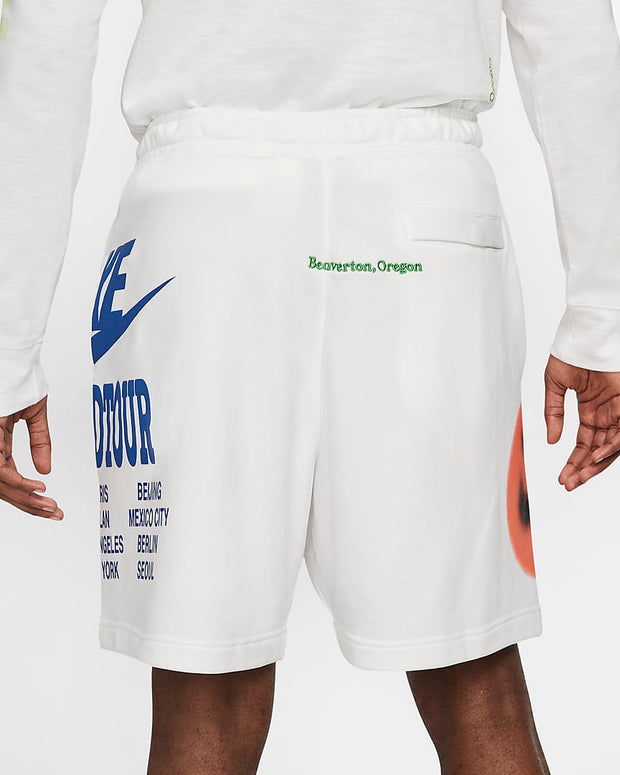 nike - french terry shorts white - back view