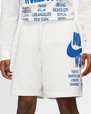 nike - french terry shorts white - front view