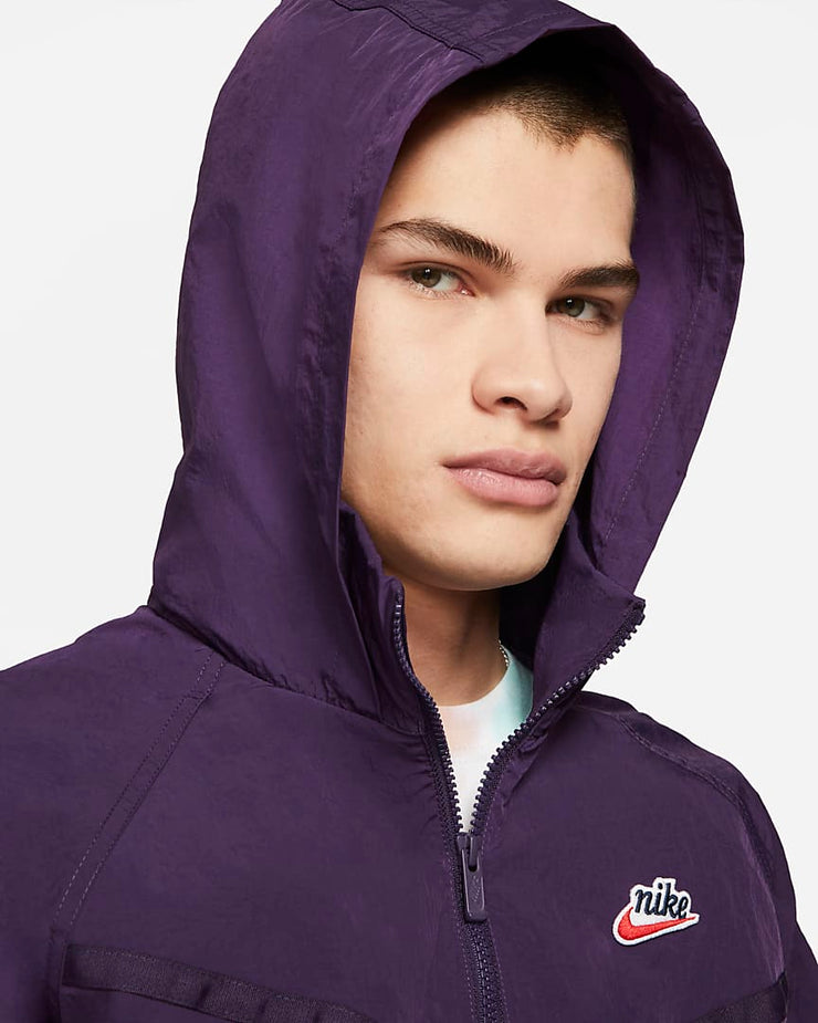 nike_heritage wind runner jacket_purple_hood front view