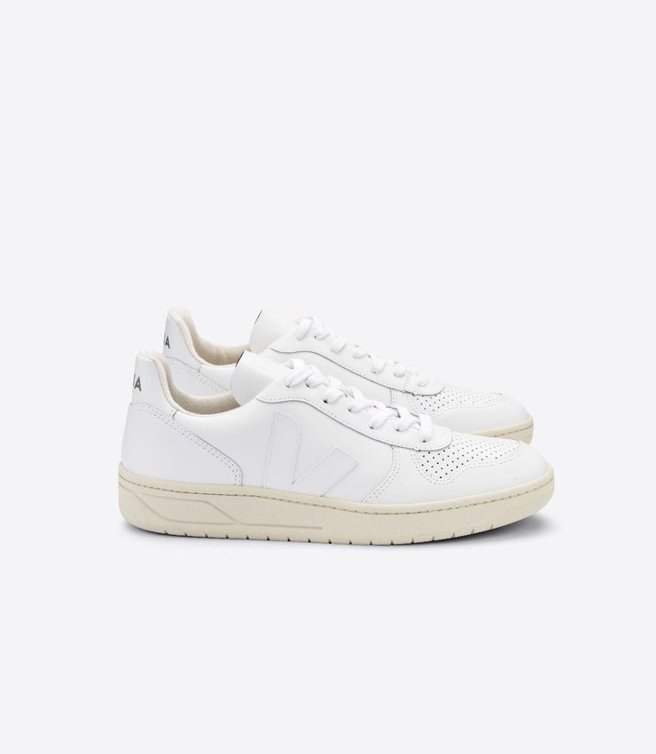 VEJA sneakers_V-10 LEATHER extra white women_side view
