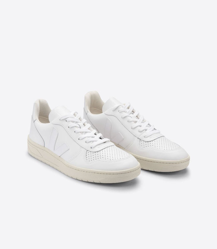 VEJA sneakers_V-10 LEATHER extra white women_front view