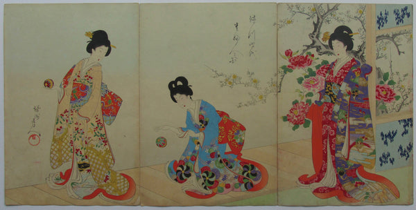 Chikanobu - Women's Activities of the Tokugawa Era: Playing with Silk Balls