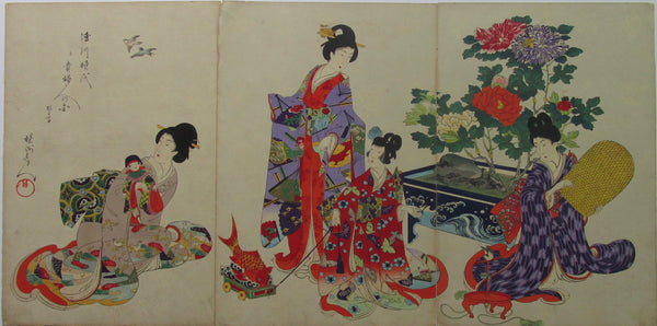 Chikanobu - Women's Activities of the Tokugawa Era: Birds and Cage