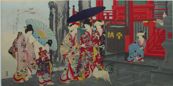 Chikanobu - Women's Activities of the Tokugawa Era: Women visiting Sensoji Temple