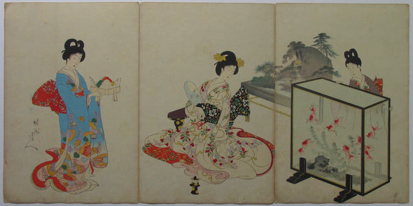 Chikanobu: Women's Activities of the Tokugawa Ear: Goldfish Viewing
