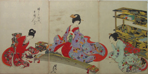 Chikanobu - Women's Activities of the Tokugawa Era: Preparing to Play the Koto