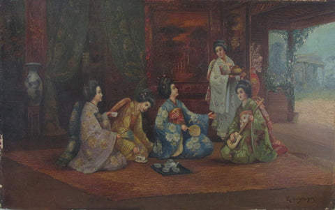 Rui Yoshida - Women having Tea - oil Painting