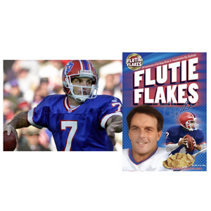 Doug Flutie of the Buffalo Bills and his iconic Flutie Flakes cereal box.