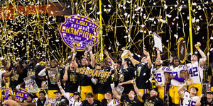 The 2019 college football champion LSU football team.