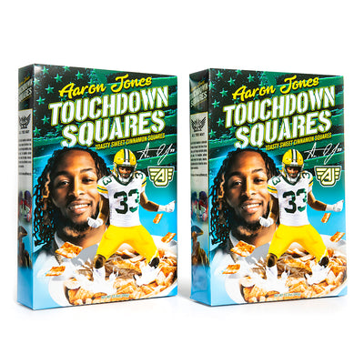Sugar and cinnamon coated breakfast cereal squares featuring Green bay Packers receiver Aaron Jones. Sold in a 2-pack.