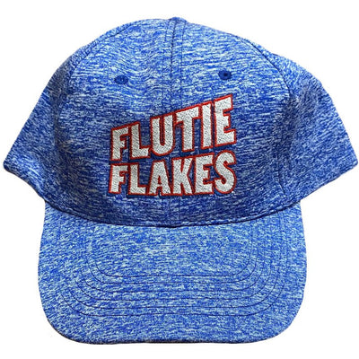 Blue and white Flutie Flakes baseball cap. One size fits most, includes adjustable strap.