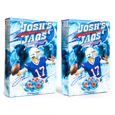 Red and blue loop fruit-flavored breakfast cereal featuring Buffalo Bills quarterback Josh Allen. Sold in a 2-pack.