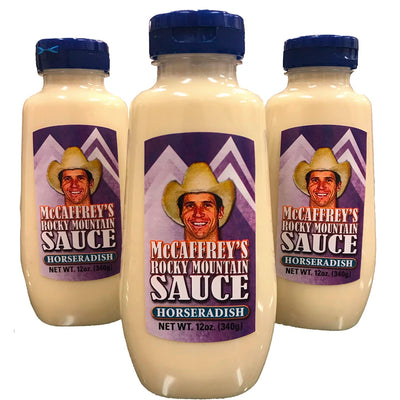 Ed McCaffrey's Horseradish sauce. Features Ed McCaffrey in a cowboy hat. Sold in a 4-pack.