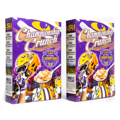 Frosted corn flake breakfast cereal featuring 2019 college football champion LSU Tigers. Sold in a 2-pack.