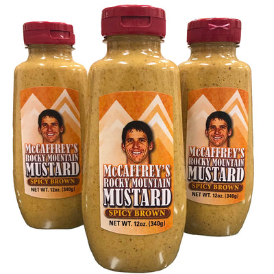 Ed McCaffrey's Spicy Brown-flavored mustard. Sold in a 4-pack.