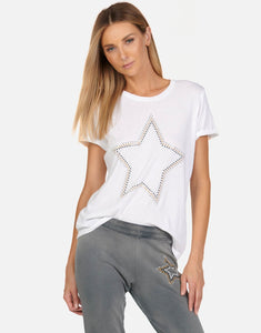 LM Vintage Roll Up Star Studded Metallic T White
