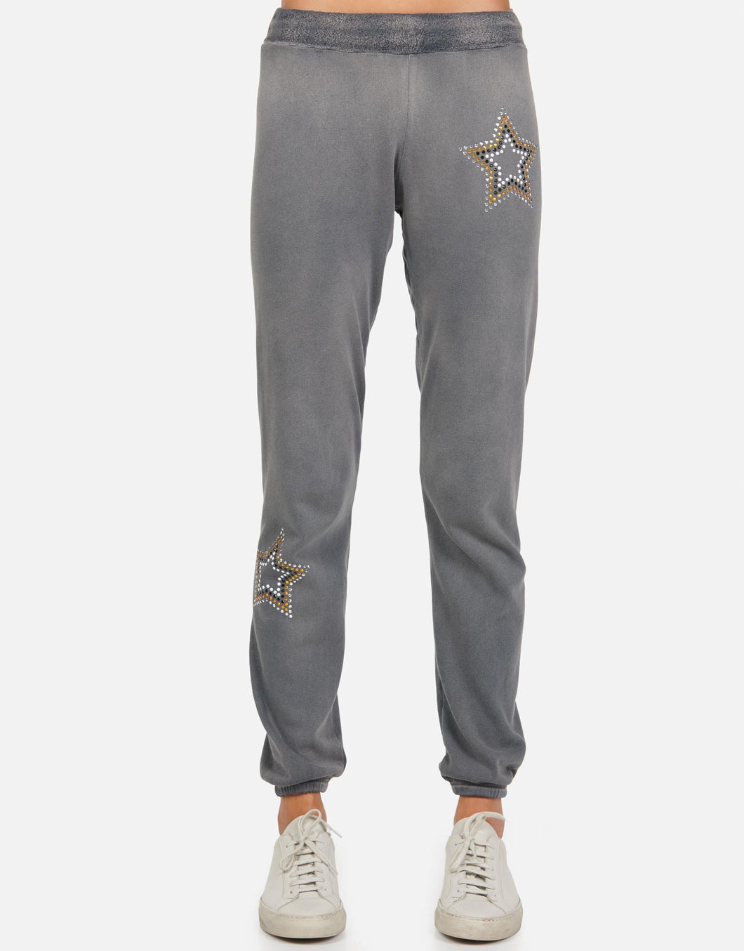 LM Star Studded Metallic Long Gia Sweat Pant Grey