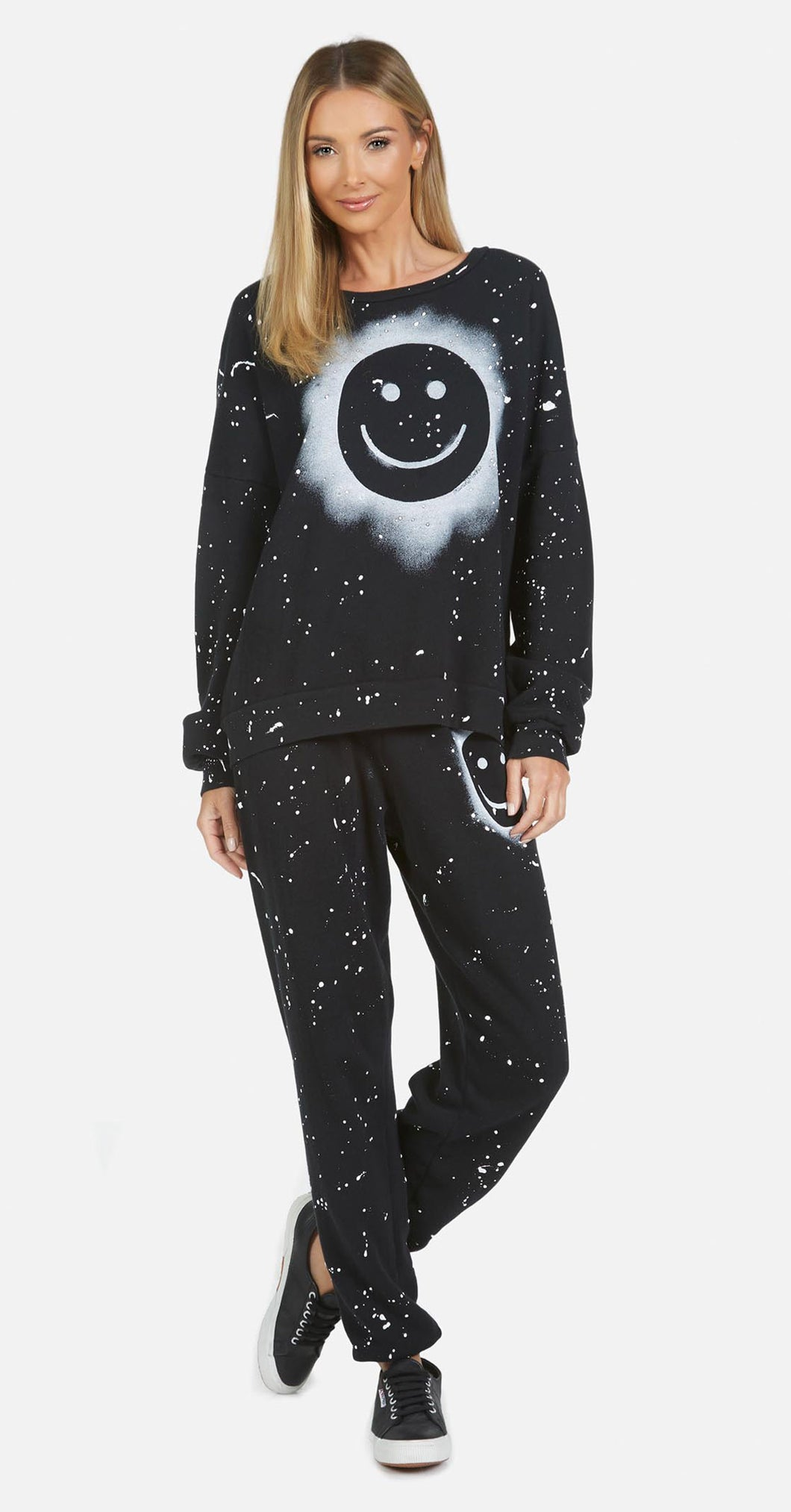 LM Tanzy Long Pant Air Brush Smiley Black/White Splatter