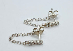 Bling Bar Chain Stud Earrings