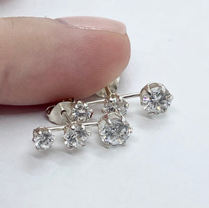 Sparkling Trio Stud Earrings