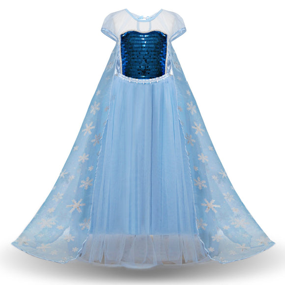 Girls Snow Queen Princess Frozen Dress Elsa Costumes for Birthday Party Cosplay