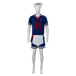 Stranger Things 3 Scoops Ahoy Steve Harrington Cosplay Costume Halloween Sailor Uniform Shirts Outfits
