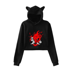 Women Cyberpunk 2077 Cat Ear Drawstring Long Sleeve Cropped Hoodies Sweatshirt Pullover Crop Tops Clothes