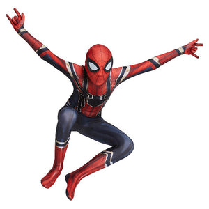 Kids Halloween Spiderman Cosplay Costume Zentai Suit Boys Girls Iron Spider Man Superhero Bodysuit