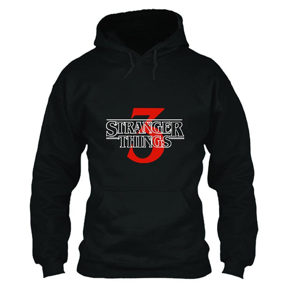 Unisex TV Series Hoodie Stranger Things 3 Logo Printed Pullover Jacket Casual Sweatshirt