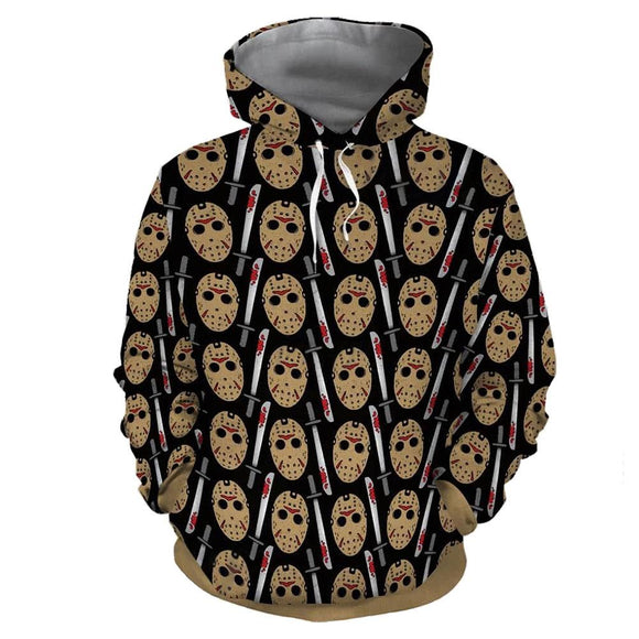 Unisex Friday the 13th Hoodies Jason Voorhees Mask Printed Pullover Jacket Sweatshirt