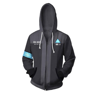 Unisex Connor Hoodies Detroit Become Human Zip Up 3D Print Jacket Sweatshirt
