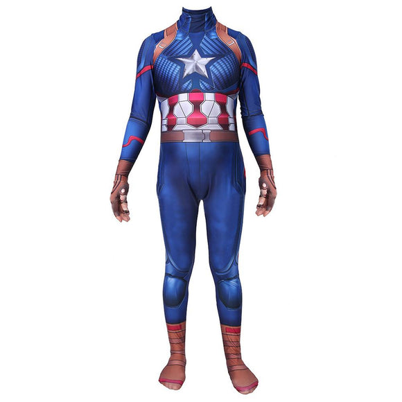 Adults Endgame Lycra Spandex Captain America Cosplay Costumes 3D Printing Zentai Bodysuit Jumpsuits