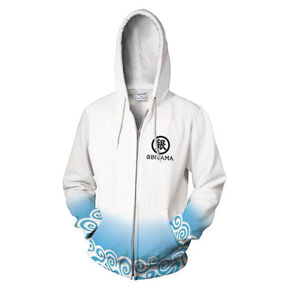 Unisex Sakata Gintoki Hoodies Gintama Zip Up 3D Print Jacket Sweatshirt
