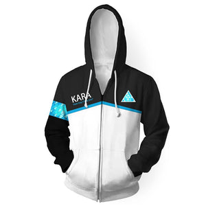 Unisex Kara Hoodies Detroit Become Human Zip Up 3D Print Jacket Sweatshirt