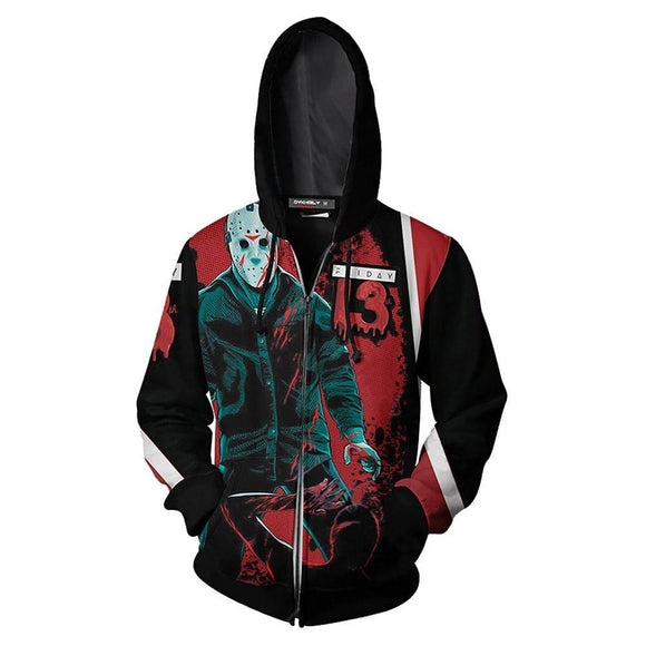 Unisex Horror Movie Hoodies Friday the 13th Zip Up 3D Print Jacket Sweatshirt