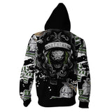 Unisex 3D Printed Hoodies Harry Potter Slytherin Hoody Long Sleeve Zip Up Sweatshirt Tops