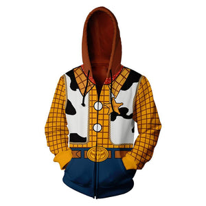 Unisex Woody Hoodies Anime Cartoon Toy Story Zip Up 3D Print Jacket Sweatshirt