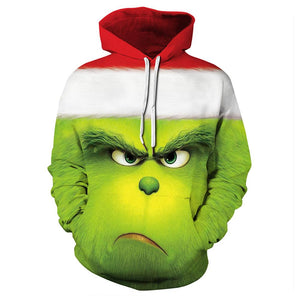Unisex 3D Printing Men/Women How the Grinch Stole Christmas Hooded Pullover Hoodies Sweatshirt