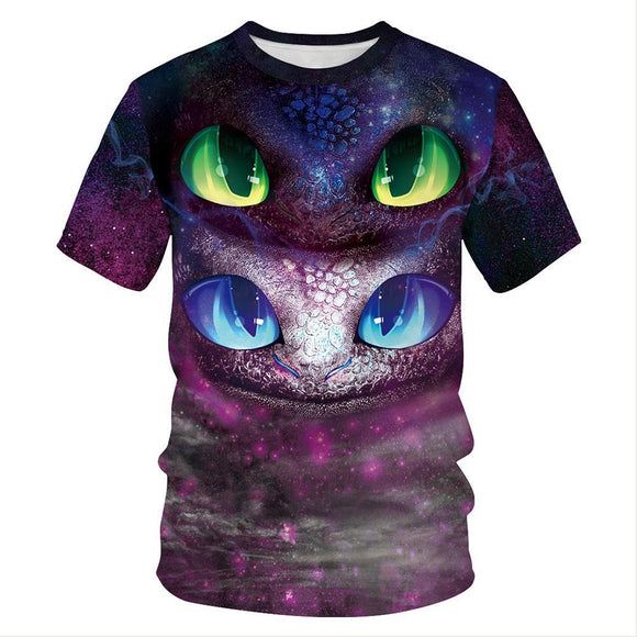 Adult O-Neck Short Sleeve 3D Digital Print Flying Dragon Summer T-Shirts