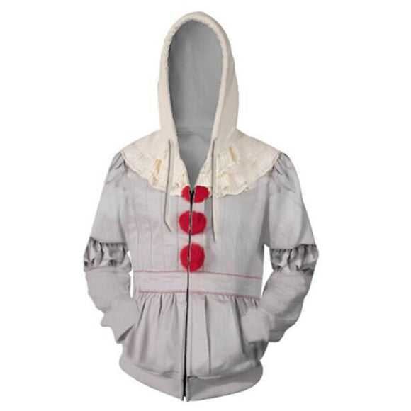 Unisex Pennywise Hoodies Stephen King's It: Chapter Two Zip Up 3D Print Jacket Sweatshirt