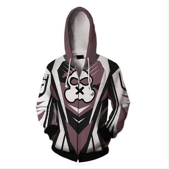 Unisex Mute Hoodies Rainbow Six Siege Zip Up 3D Print Jacket Sweatshirt