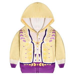 Kids Frozen2 Princess Anna Hoodies Yellow Zip Up Sweatshirt