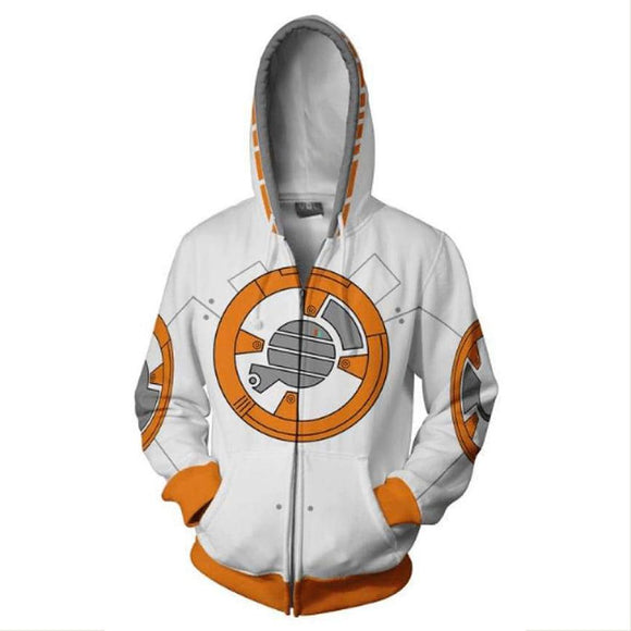 Unisex BB-8 Hoodies Star Wars Zip Up 3D Print Jacket Sweatshirt