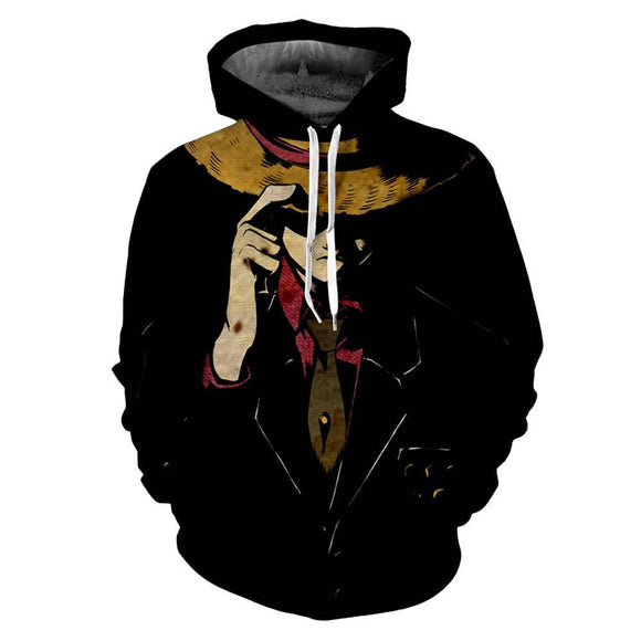 Unisex Anime One Piece Pullover Hoodie Luffy Cosplay Costume Hooded Sweatshirt